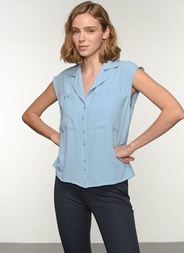 NGSTYLE Kadın Ceket Yaka Gömlek NGKSS21GM0012 Mavi
